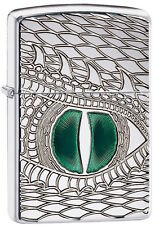 "Zippo ""Green Dragon Eye"" Armor Lighter - No 28807 on black ice chrome finish"