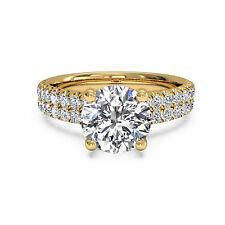 Round Shape 1.60 Ct Diamond Engagement Rings Fine 14kt Yellow Gold VVS1 HJYH