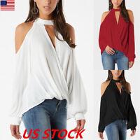 USA Women Choker V Neck Casual Loose Long Sleeve Cold Shoulder Blouse Shirt Tops