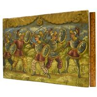 Antique c.19th FOLK ART PAINTING on CARVED SALVAGED WOOD c.17th Spanish Knights?