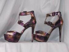 WOMEN'S SHOES SIZE 6 ANNE MICHELLE PLATFORM HEELS GOLD IRIDESCENT SNAKE LEATHER