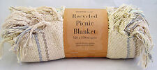 Country Club Recycled Cotton Picnic Blanket Throw Travel Rug 120x150cm Natural