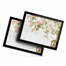 2 x Glass Placemats 20x25 cm - Pink Blossom Tree Birds Art  #24010