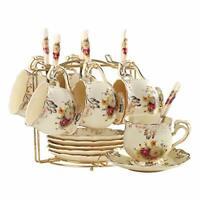YOLIFE Flowering Shrubs Pattern Ivory Ceramic Tea Cups and Saucers Set,Vintage
