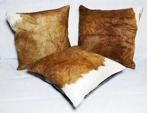 "Cowhide Pillows Cushion Cover Leather Hair on Cow Hide Skin 16"" x 16"""