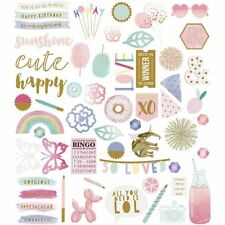 Birthday Party Themed Die-Cut Card Craft Embellishments with Gold Detail 118pcs
