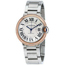 Cartier Ballon Bleu Automatic 18Kt Rose Gold Diamond Steel Ladies Watch WE902081