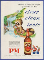 Vintage 1950 PM DE LUXE Blended Whiskey Alcohol Liquor Raccoon Print Ad
