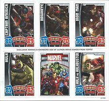 TOPPS HERO ATTAX MARVEL AVENGERS AGE OF ULTRON 6 CARD SHEET & TIN HOLDER THOR