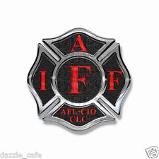 """IAFF Sticker Decals (4 pack) Firefighter Int'l Maltese Cross 2"""" wide Black w/Red"""