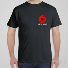 Funny T-shirt LEST WE FORGET - Anzac Day with Poppy on left chest
