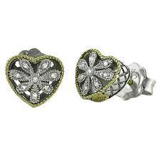 Andrea Candela 18k Gold & Sterling Diamond Vintage Heart Stud Earrings ACE101/05