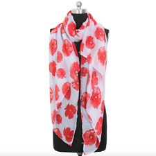 Red Poppy Flower Scarf for Remembrance Day