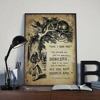 Alice in Wonderland Vintage Art Print Bonkers Quote Sizes A4 A3 A2 A1 A0 M074