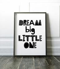 Dream Big Little One Scandinavian Print For Boys Bedroom / Nursery Black & White