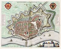 MAP ANTIQUE 1649 BLAEU DEVENTER CITY PLAN OLD LARGE REPLICA POSTER PRINT PAM0051