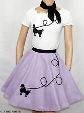 3PC LAVENDER 50's Poodle Skirt outfit Youth Girl Sz 10/11/12/13 Length 23""