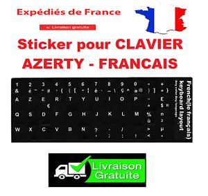 Autocollant Stickers Etiquettes AZERTY Pour Clavier Ordinateur PC Français