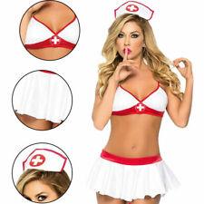 Women 3 Piece Sexy Nurse Costume Dress Up Lingerie - USA Seller