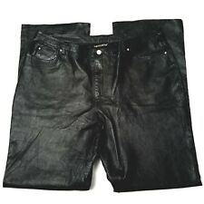MetroStyle 18 Tall Black Leather Pants Trouser Lined Straight Leg Motorcycle