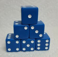 Dice - Koplow 19mm OP Blue w/White Pips! 6 each - Big & Blue! The Blues for You!