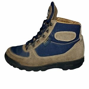Vintage Vasque Women's Skywalk Gore-Tex Leather Tan Navy Hiking Boots Size 7.5