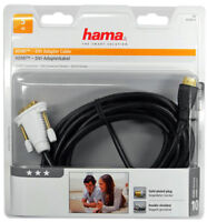 2 Stück - Hama HDMI DVI Kabel Adapterkabel cable Connector vergoldete Stecker 5m