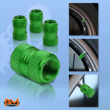 4 Pcs Green Aluminum Tires Stem Caps 17mm Knurled Style Wheel Air Valve Cover