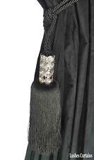 Black Crystal Bead Top Window Curtain Drapery Tassel Rope/Cord Tie Back Holdback