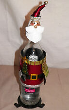 NEW HOLIDAY CHRISTMAS SANTA CLAUS METAL WINE BOTTLE HOLDER ADORABLE GIFT IDEA