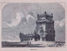 Lissabon Portugal - Schloß Belém, Grafik, Stich, Holzstich 1872