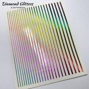 Flexi Tape Nail Stickers Line Tape Rainbow Metallic Self Adhesive Nail Art
