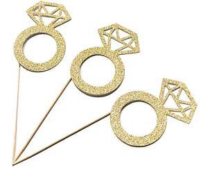 12 x Gold Engagement Ring Cupcake Topper, Wedding cupcake topper, Hen Do