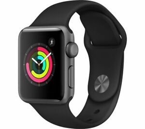 APPLE Watch Series 3 - Space Grey & Black Sports Band, 38 mm - Currys