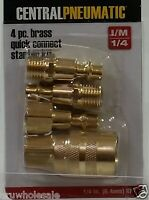 "4 Pc set 1/4"" brass QUICK-CONNECT COUPLER air tool pneumatic fast change hose"