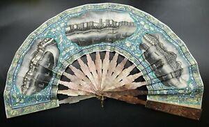 MUSEUM 19th Century Chinese Export Watercolor Hong Kong Hand Fan MOP Sticks