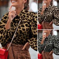 Plus Size Women Leopard Button Up Shirt Ladies Long Sleeve Formal Tops Blouse UK