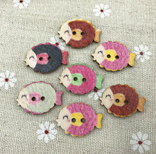 25pcs Retro Wooden Kissing fish buttons Sewing 2-holes Scrapbooking crafts 25mm