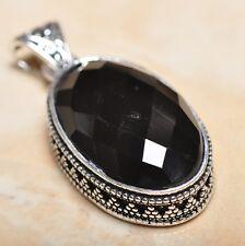"Handmade Black Agate Onyx 925 Sterling Silver Vintage Design Pendant 2"" #P14066"