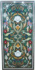 "18""x36"" Marble Side Dining Table Top Lapis Pietra Dura Inlay Hallway Decor"