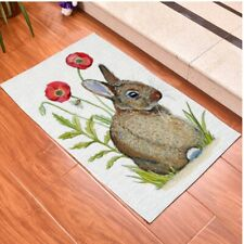 Watercolor Rabbit Print Polyester Floor Carpet Handmade Woven Area Tapestry Mat