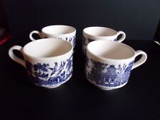 Set of 4 Churchill Blue Willow 8 Ounce Porcelain Coffee Cups - Made in England