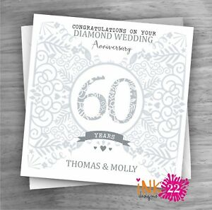 Personalised Unique Handmade Milestone 60th Diamond Wedding Anniversary card