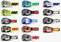 100% ACCURI Goggles -ALL COLORS- Offroad MX Motocross - Anti-Fog Clear Lens