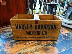 HARLEY DAVIDSON VINTAGE ANTIQUE STYLE WOOD BOX TRUG, Many Uses, Great Gift