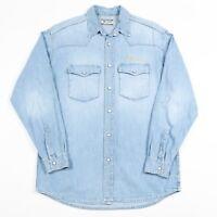 Vintage MUSTANG Pearl Popper Denim Western Shirt   Men's S   Retro Cowboy Jeans