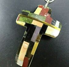 "Kewa CONNIE CORIZ Multi Stone Inlay CROSS PENDANT + 16"" Sterling Silver Chain"