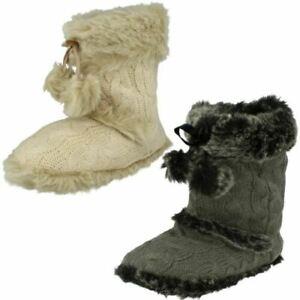 Ladies Knitted Upper Detail Spot On Slip On Boot Slippers