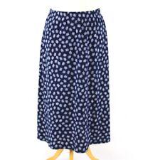 DAMART Floral Print Midi Skirt UK 14 Navy Blue White A-line Calf Casual Autumn