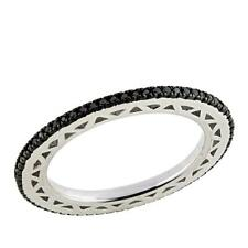 .25ctw Colored Black Diamond Sterling Silver Eternity Band Ring Size 6